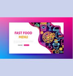 Fast food menu neon landing page vector