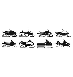 fast snowmobile icon set simple style vector image