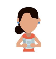 Female traveler or tourist avatar icon image vector