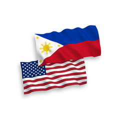 Flags philippines and america on a white vector