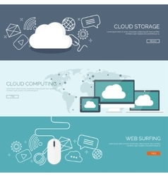 Flat cloud computing vector