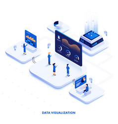 Flat color modern isometric design - data vector