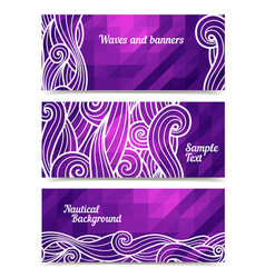 Geometric waves banners vector