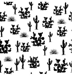 hand drawn seamless pattern with ccati saguaro vector image