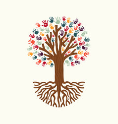 Hand print tree for community help vector