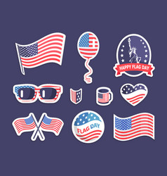 happy flag day american symbolism colorful banner vector image