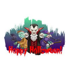 Happy halloween characters cartoon poster vector