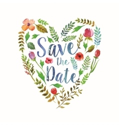 heart watercolor leaves wedding invitation vector image
