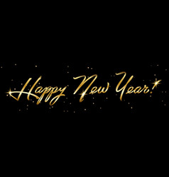 horizontal golden sign happy new year 2019 holiday vector image