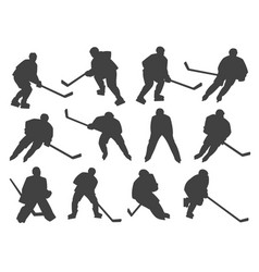 ice hockey players and goalie silhouettes vector image