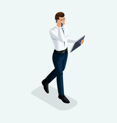 isometric businessman goes ahead front view bu vector image