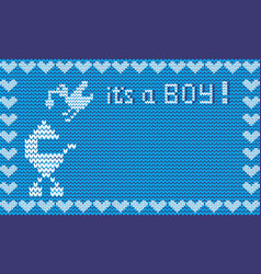 It s a boy shower card blue fabric knitted vector