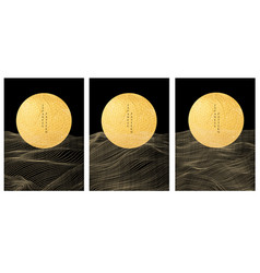 japanese background with gold texture in circle vector image