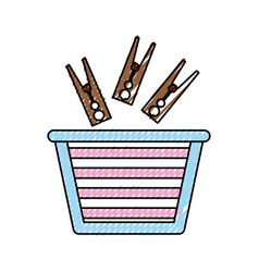 laundry basket with clothes pin vector image