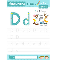 Letter d uppercase and lowercase tracing practice vector