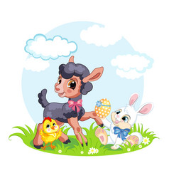 Little cute funny characters chicken rabbit vector