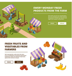 local farm banners outdoor food marketplaces vector image