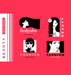 logo collection cosmetics and fashion vector image