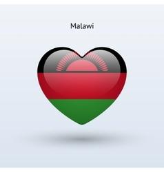 Love Malawi symbol Heart flag icon vector