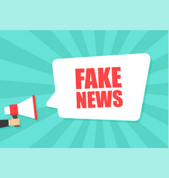 male hand holding megaphone with fake news speech vector image
