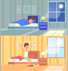 man sleeping at night and vector image