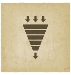 marketing funnel symbol old background vector image