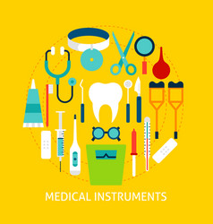 medical instruments flat concept vector image