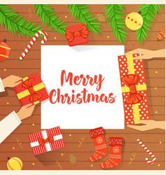 merry christmas banner family celebrating vector image