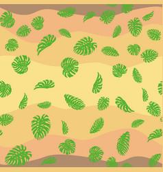 Monstera leaves seamless desert background vector