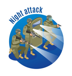 Night attack isometric vector