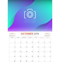 october 2019 calendar planner stationery design vector image