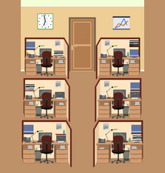 Office interior including six isolated work vector
