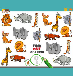 One a kind game for children with animals vector