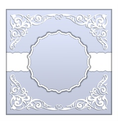 paper frame with lace ornament vector image