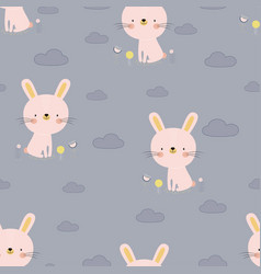 pattern with cartoon bunny vector image