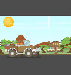 Pickup offroad truck at nfture landscape vector