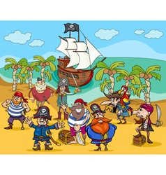 pirates on treasure island cartoon vector image