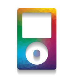 Portable music device colorful icon with vector