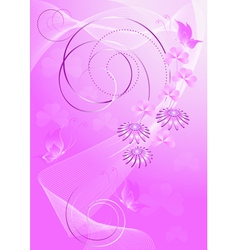 Purple background with flowers and butterflies vector