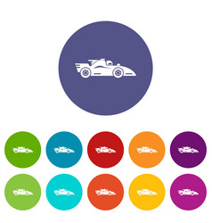 Racing car icons set color vector