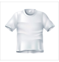 Realistic wrinkled t shirt white mockup vector