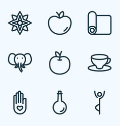 Relax icons line style set with yoga mat peace vector