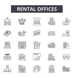 rental offices line icons signs set vector image