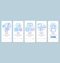 Research industries onboarding mobile app page vector