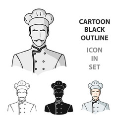 restaurant chef icon in cartoon style isolated on vector image