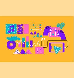 retro music technology cartoon icon set isolated vector image