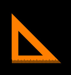ruler sign orange icon on black vector image