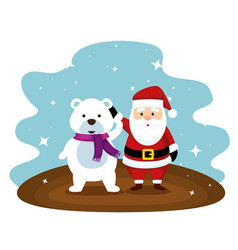 santa claus and snow bear with scarf vector image