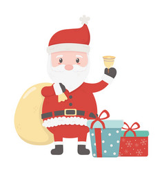 santa with bag bell and gifts celebration merry vector image