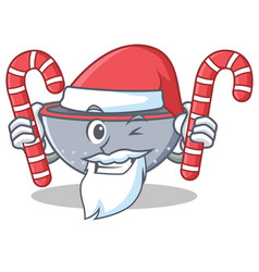 Santa with candy colander utensil character vector